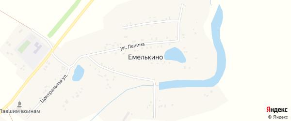 Центральная улица на карте села Емелькино Татарстана с номерами домов