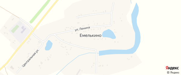 Улица Ленина на карте села Емелькино Татарстана с номерами домов