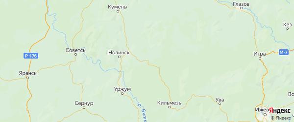 Карта Немского района Кировской области с городами и населенными пунктами