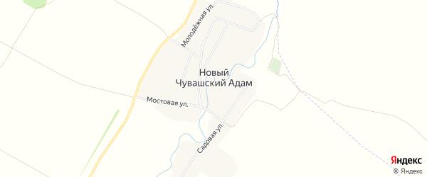 Карта деревни Новый Чувашский Адам в Татарстане с улицами и номерами домов