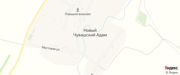 Молодежная улица на карте деревни Новый Чувашский Адам Татарстана с номерами домов