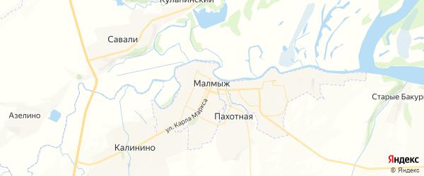 Карта Малмыжа с районами, улицами и номерами домов