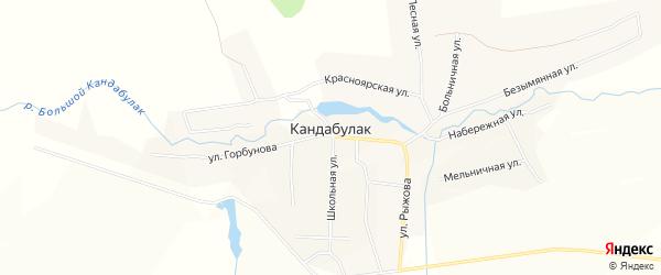 Карта села Кандабулака в Самарской области с улицами и номерами домов