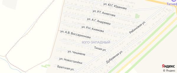 Улица А.В.Виссарионова на карте Нурлата с номерами домов
