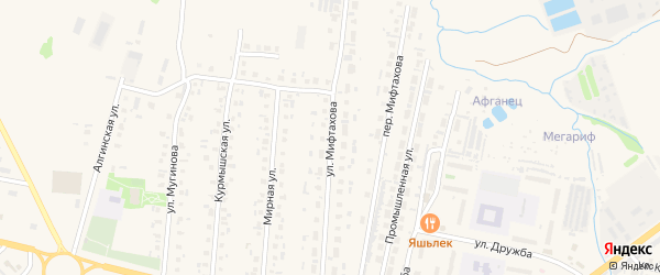 Улица Мифтахова на карте Нурлата с номерами домов