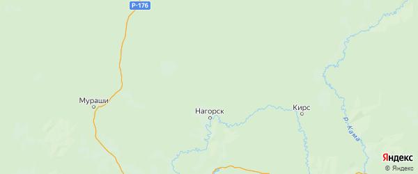Карта Нагорского района Кировской области с городами и населенными пунктами
