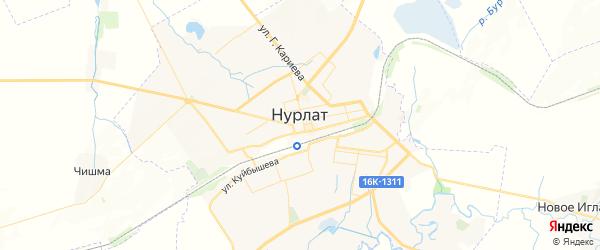 Карта Нурлата с районами, улицами и номерами домов: Нурлат на карте России
