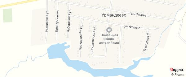 Пролетарская улица на карте села Урмандеево Татарстана с номерами домов