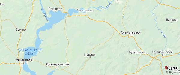 Карта Аксубаевского района Республики Татарстана с городами и населенными пунктами