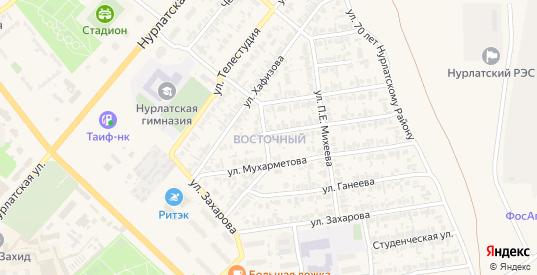 Восточный микрорайон в Нурлате с номерами домов на карте. Спутник и схема онлайн
