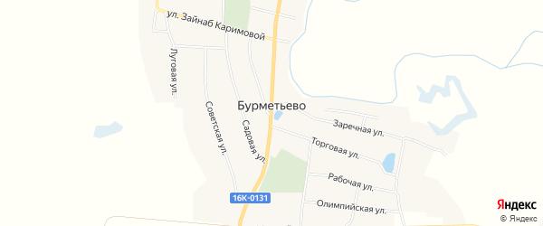 Карта села Бурметьево в Татарстане с улицами и номерами домов