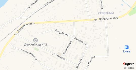 Луговая улица в Емве с номерами домов на карте. Спутник и схема онлайн