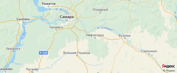 Карта Нефтегорского района Самарской области с городами и населенными пунктами