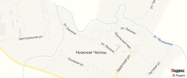 Улица Ленина на карте села Нижние Челны Татарстана с номерами домов