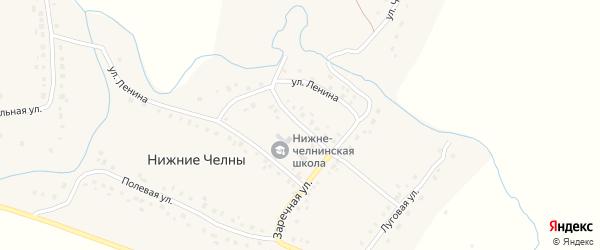 Школьный переулок на карте села Нижние Челны Татарстана с номерами домов