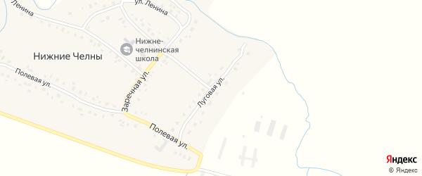 Луговая улица на карте села Нижние Челны Татарстана с номерами домов