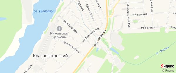 Карта Краснозатонский поселка города Сыктывкара в Коми с улицами и номерами домов