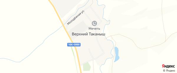 Карта деревни Верхнего Таканыша в Татарстане с улицами и номерами домов