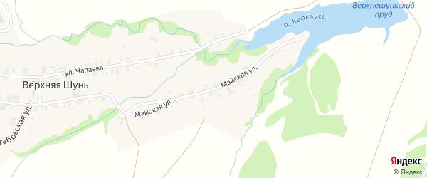Майская улица на карте села Верхней Шуни Татарстана с номерами домов