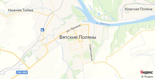 Карта Вятские Поляны с улицами и домами подробная. Показать со спутника номера домов онлайн
