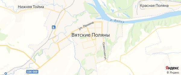 Карта Вятские Поляны с районами, улицами и номерами домов