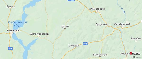 Карта Челно-вершинского района Самарской области с городами и населенными пунктами
