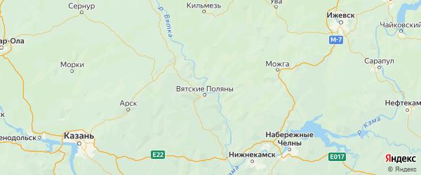 Карта Вятскополянского района Кировской области с городами и населенными пунктами