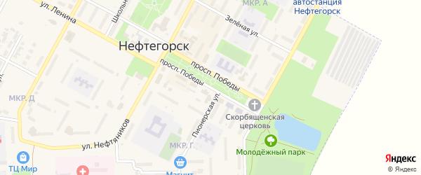 Проспект Победы на карте Нефтегорска с номерами домов