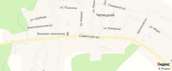 Советская улица на карте Чепецкого поселка Кировской области с номерами домов