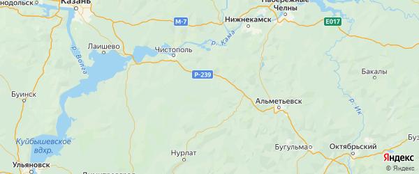 Карта Новошешминского района Республики Татарстана с городами и населенными пунктами