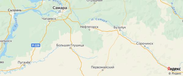 Карта Алексеевского района Самарской области с городами и населенными пунктами