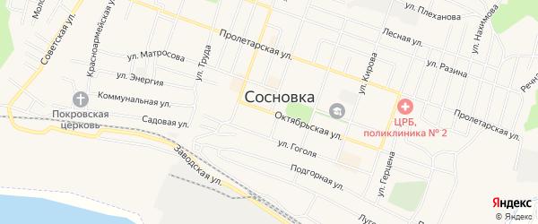 Карта территории гк Лесовика города Сосновки в Кировской области с улицами и номерами домов