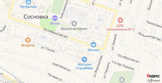 Октябрьская улица в Сосновке с номерами домов на карте. Спутник и схема онлайн