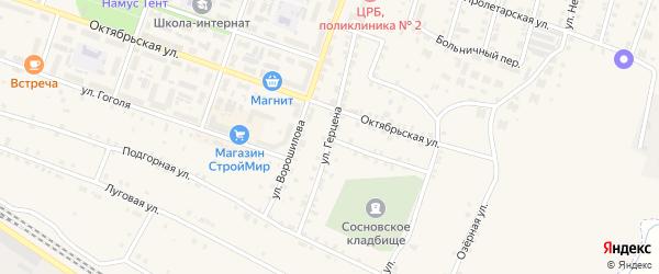 Улица Герцена на карте Сосновки с номерами домов