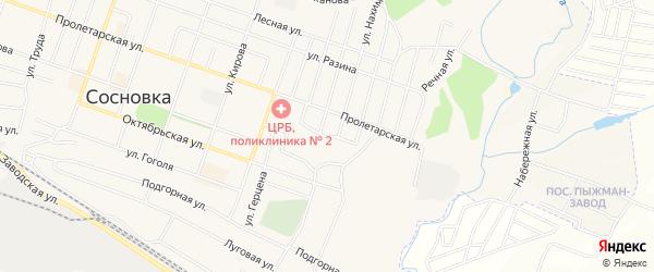 Карта территории гк Больничного города Сосновки в Кировской области с улицами и номерами домов