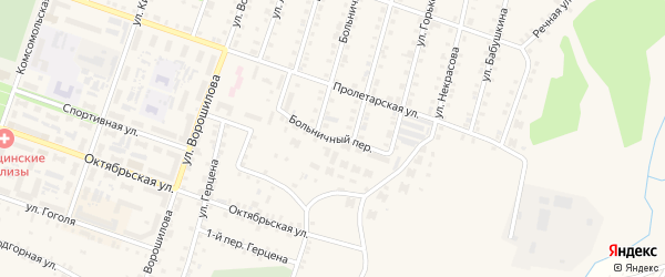 Больничный переулок на карте Сосновки с номерами домов
