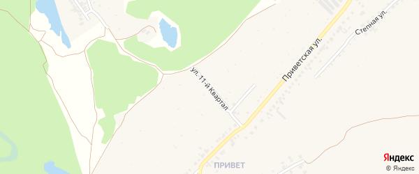 Улица 11-й квартал на карте территории Нефтяника (очистные сооружения) с номерами домов