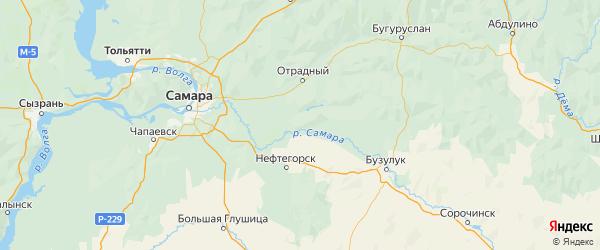Карта Богатовского района Самарской области с городами и населенными пунктами