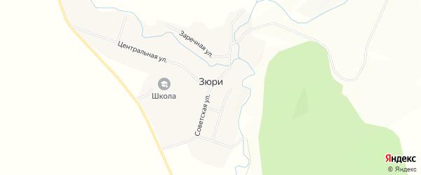 Карта села Зюри в Татарстане с улицами и номерами домов