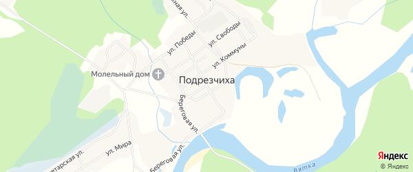 Карта поселка Подрезчихи в Кировской области с улицами и номерами домов