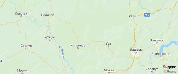 Карта Сюмсинского района Республики Удмуртии с городами и населенными пунктами