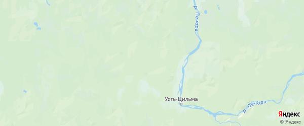 Карта Усть-Цилемский района Республики Коми с городами и населенными пунктами