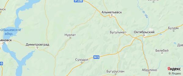 Карта Шенталинского района Самарской области с городами и населенными пунктами