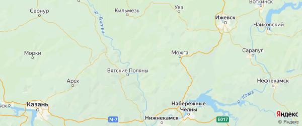 Карта Кизнерского района Республики Удмуртии с городами и населенными пунктами