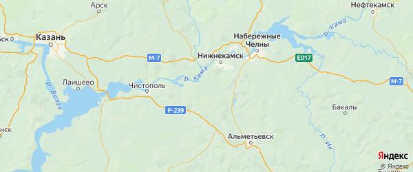 Карта Нижнекамского района Республики Татарстана с городами и населенными пунктами