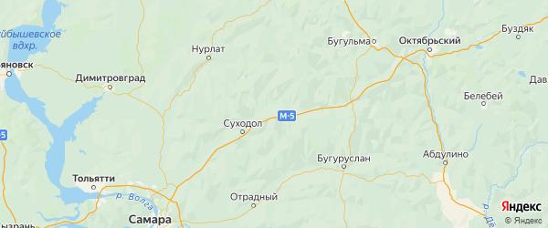 Карта Исаклинского района Самарской области с городами и населенными пунктами