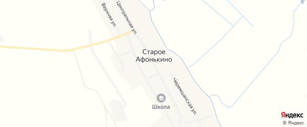 Карта деревни Старое Афонькино в Самарской области с улицами и номерами домов