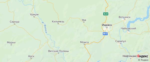 Карта Вавожского района Республики Удмуртии с городами и населенными пунктами