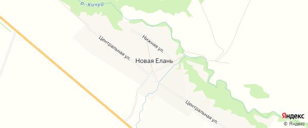 Квартал 000000 на карте села Новой Елани Татарстана с номерами домов