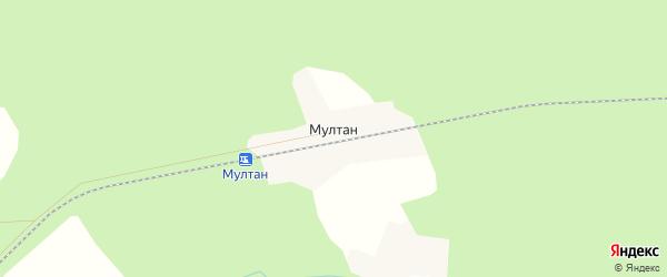 Карта деревни Мултана в Удмуртии с улицами и номерами домов
